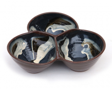 Blue Marble Triple Hors d'Oeuvre Serving Dish